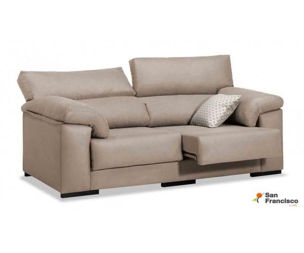Sofá 3 Plazas económico 195cm reclinable y extensible tapizado micrpofibra Beige