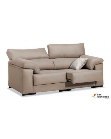 Sofá 3 plazas barato 200cm. reclinable y extensible tapizado microfibra Velvet 3 beige