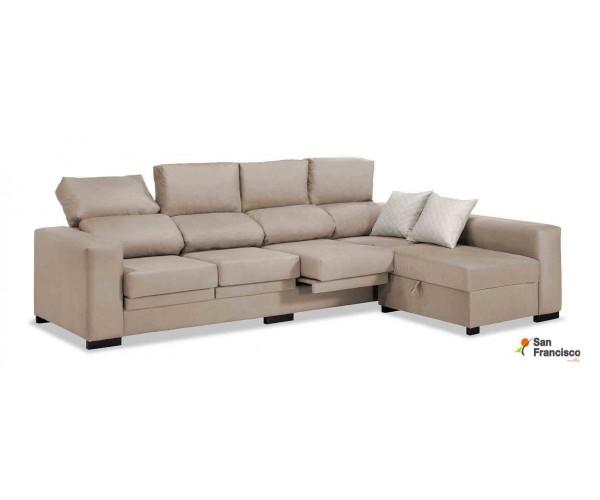 Sofá con puf 4 cabezales 270cm tapizado Beige reclinable y extensible