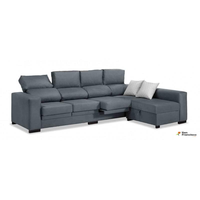 Chaise longue 273cm barata, respaldos reclinables, asientos extensibles, puf partido, tapizada microfibra lavable.