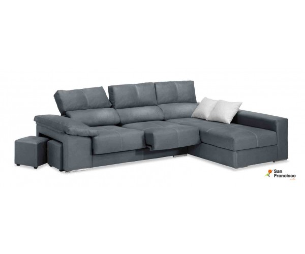 Chaiselongue  280cm tapizada gris reclinable y extensible