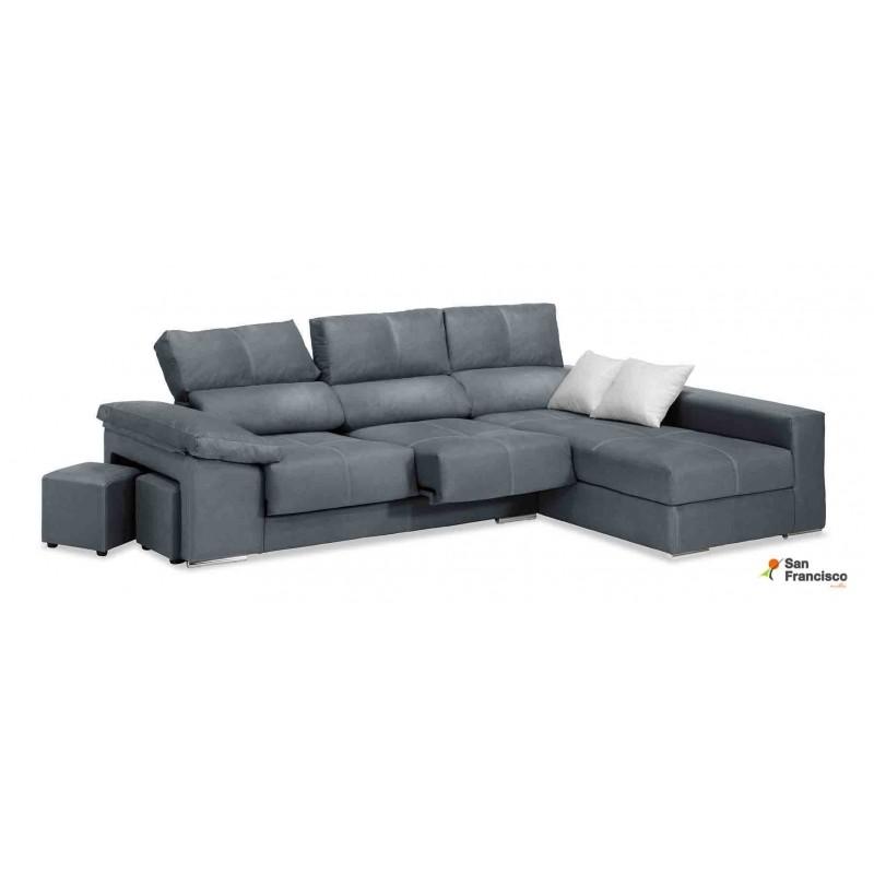 Chaiselongue 280cm diseño moderno económica, máxima comodidad, alta calidad, tapizada microfibra color gris.