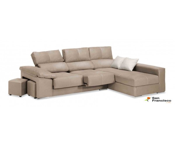 chaise longue 280 cm tapizado beige reclinable y extensible.