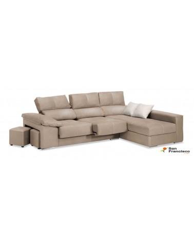 Chaiselongue 280cm diseño moderno económica, máxima comodidad, alta calidad, tapizada microfibra color Beige.