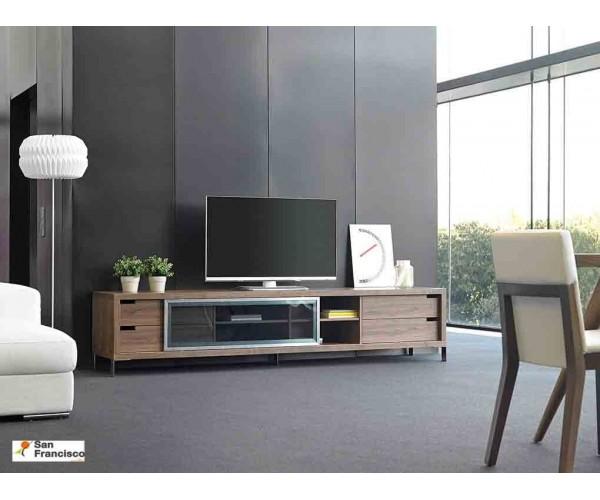 Mueble de Televisión de 238cm Chapado en madera de Nogal