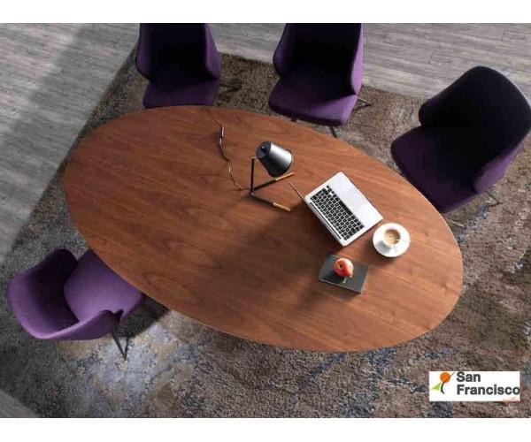 Mesa de comedor Ovalada de 220cm Chapa de Nogal