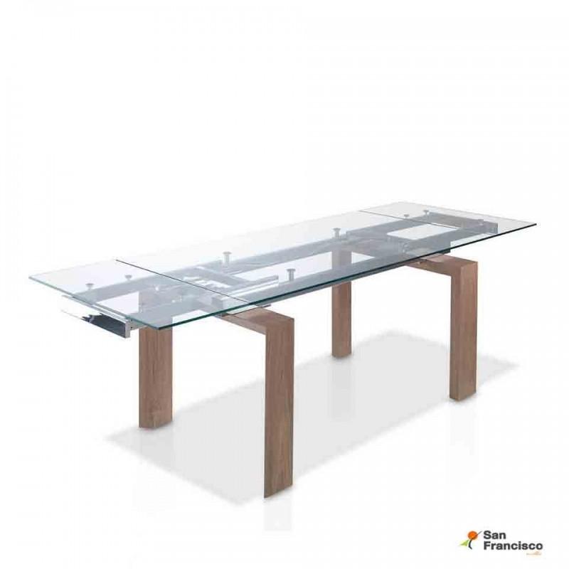 comprar mesa de comedor de cristal de 160cm extensible