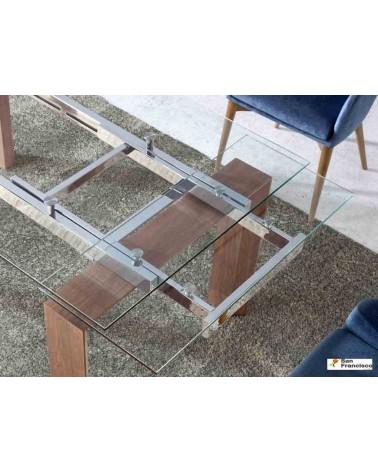 Mesa de comedor de cristal extensible de 160 cm