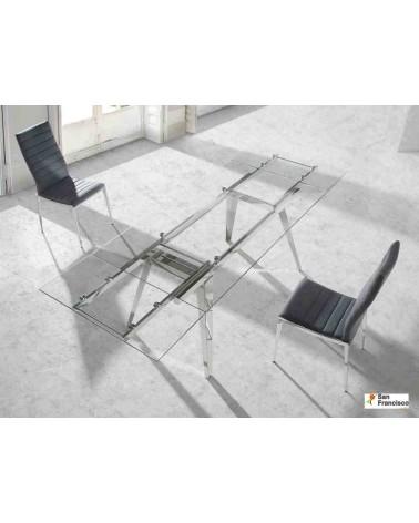 Mesa de comedor de cristal de 160 x 95 cm Extensible