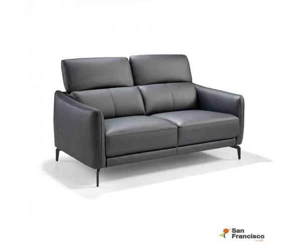 Sofá 2 plazas 157 cm  tapizado en piel Negra