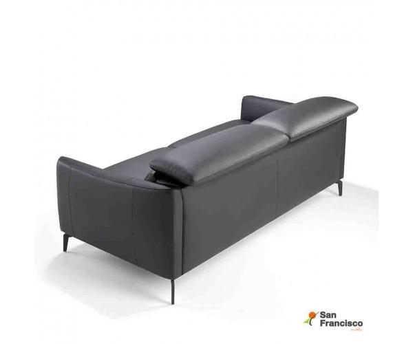 Sofá 3 plazas de 197 cm Tapizado en Piel Negra