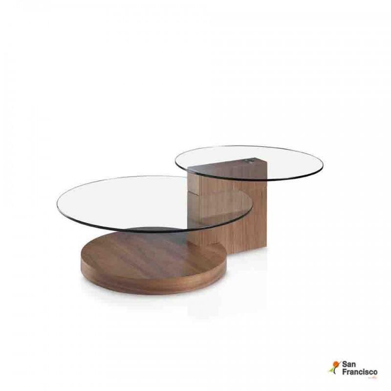 Mesa de centro de cristal y madera de Nogal