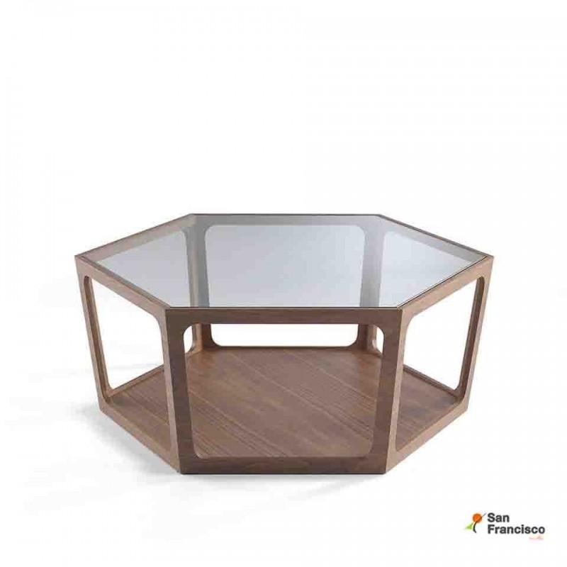 Mesa de centro de cristal y Nogal