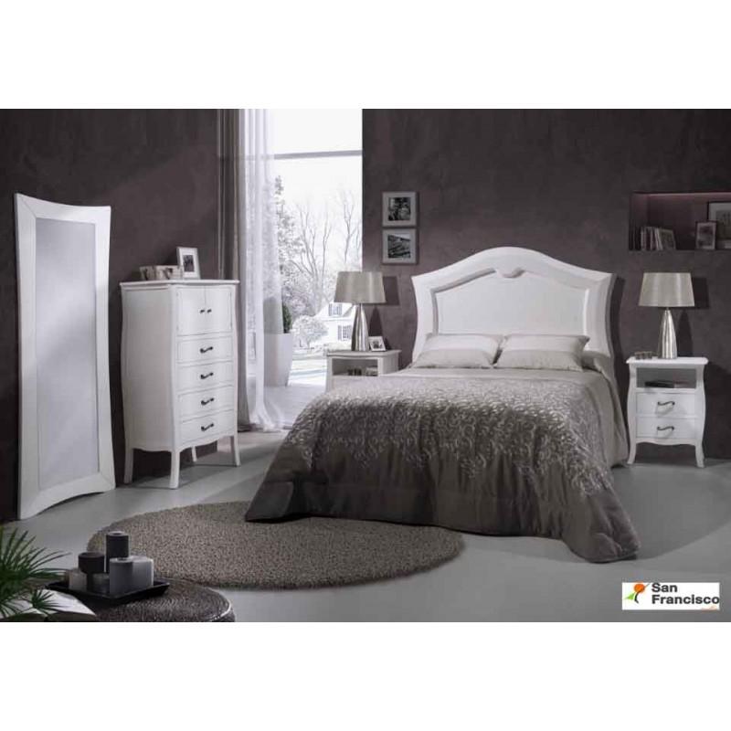 Dormitorio de matrimonio Luis XV lacado Blanco