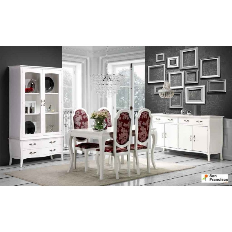 Mesa y sillas clásicas - Vitrina y aparador opcional