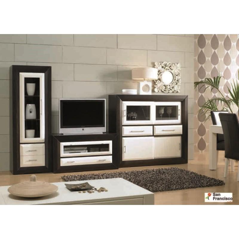 Mueble de Salón 321 cm Rústico Wengue y Blanco