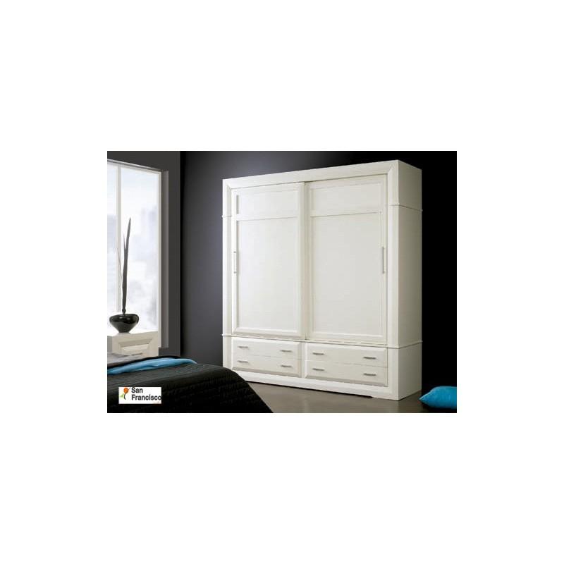Comprar armario puertas correderas de 240cm de madera maciza - Armario madera blanco ...