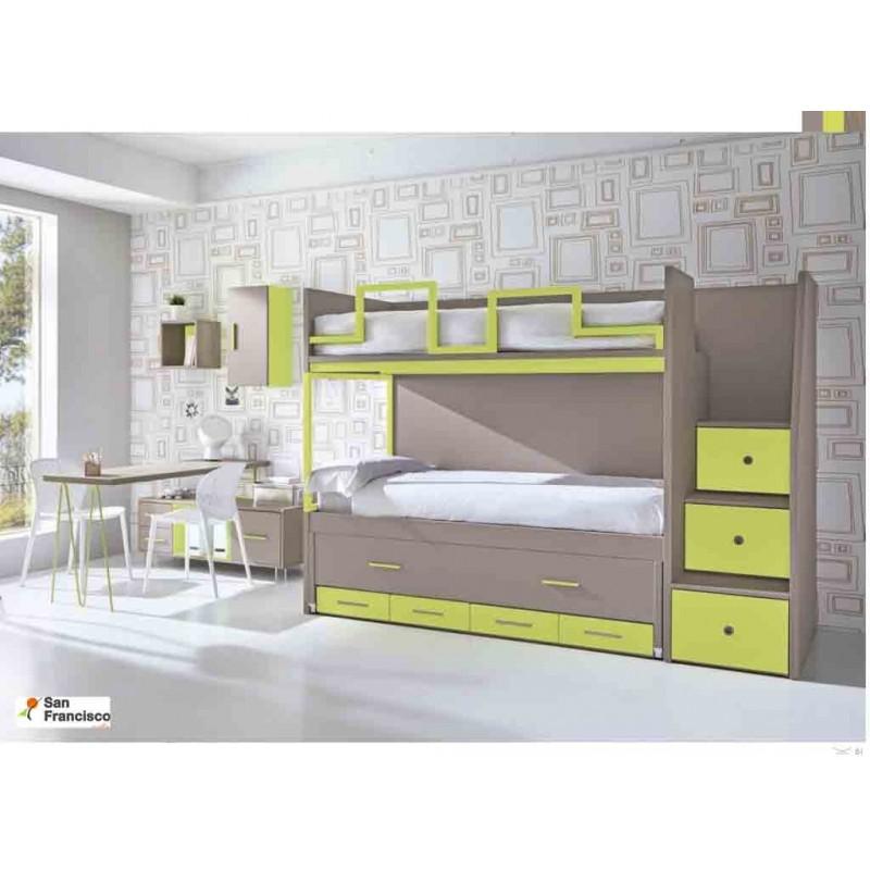 Litera con 3 camas y escalera lateral