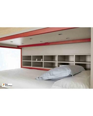 Litera con 3 camas Efecto Madera Danés y Rojo