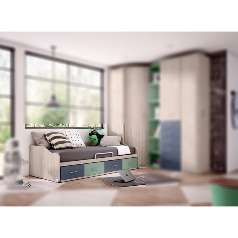 Cama compacta juvenil con 4 contenedores economica. Alta capacidad. Maxima calidad. Variedad de acabados y colores.