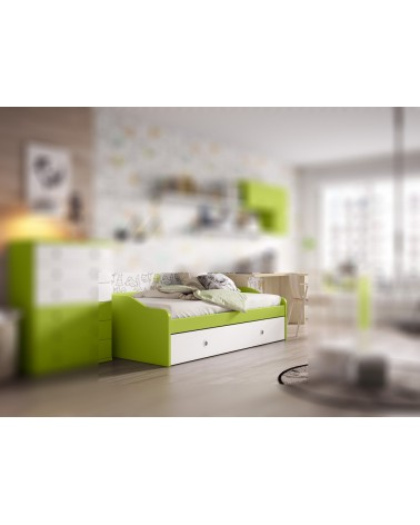 Cama nido juvenil buen precio con 2 camas. Alta calidad. Acabado combinado Manzana y Nevado. Somieres y colchones opcionales.