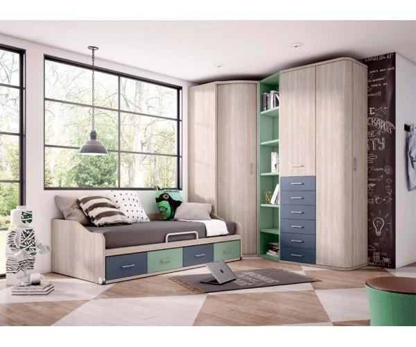 Composición dormitorio juvenil. Armario, escritorio y trampones colgados OPCIONALES.