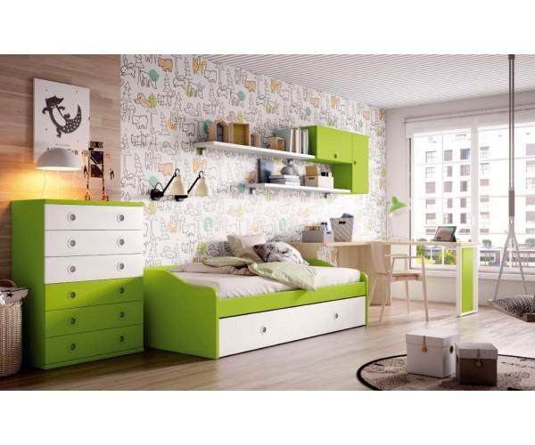Dormitorio juvenil. Sinfonier, escritorio y composición colgada OPCIONALES. Máxima calidad.