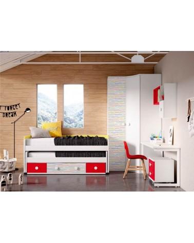 Detalle de armario, escritorio con buc y estanterías OPCIONALES. Alta calidad, Máxima capacidad, Buen precio.
