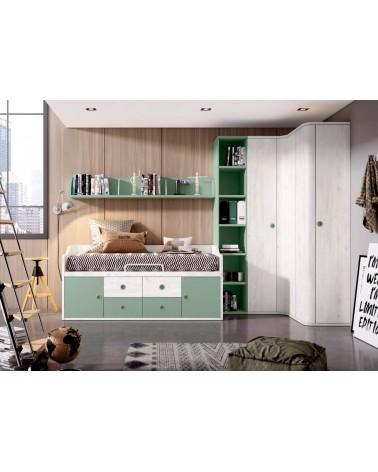 Detalle dormitorio juvenil OPCIONAL, acabado Nórdico y Oliva.