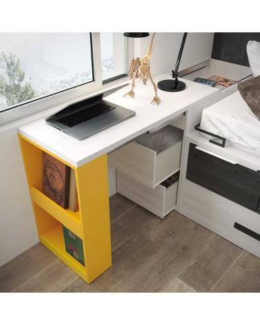 Cama compacta 2 camas 4 contenedores alta calidad acabado Polar color combinado Rojo.