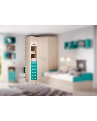 Chinfonier 6 cajones con estante y puerta maletero opcional.