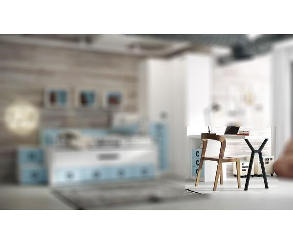 Mesa de estudio 150X50 con buc 3 cajones y hueco y pata opcional.