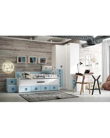 Cama compacta 2 camas 4 contenedores alta calidad acabado Blanco Rayado y  Océano.