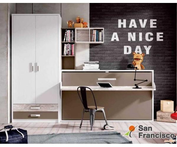 Cama abatible horizontal 90X190cm con escritorio