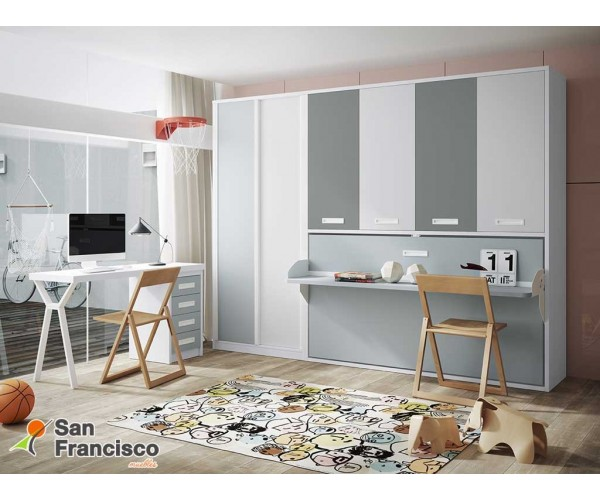 Cama juvenil 90X190cm abatible horizontal con escritorio