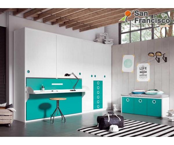 Cama abatible horizontal 90X190cm con armario y escritorio