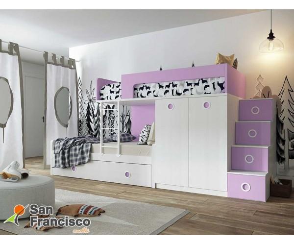 Litera juvenil 90X190cm. 3 camas y armario. Gama alta. Económica
