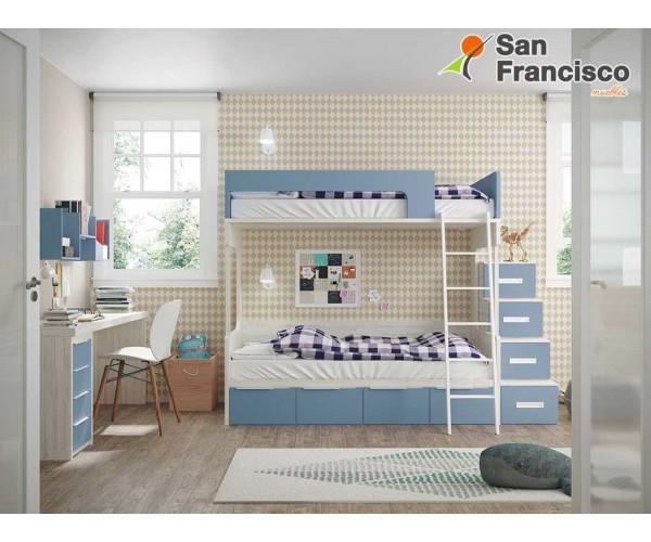 Litera juvenil 2 camas 4 contenedores. Gama alta. Económica