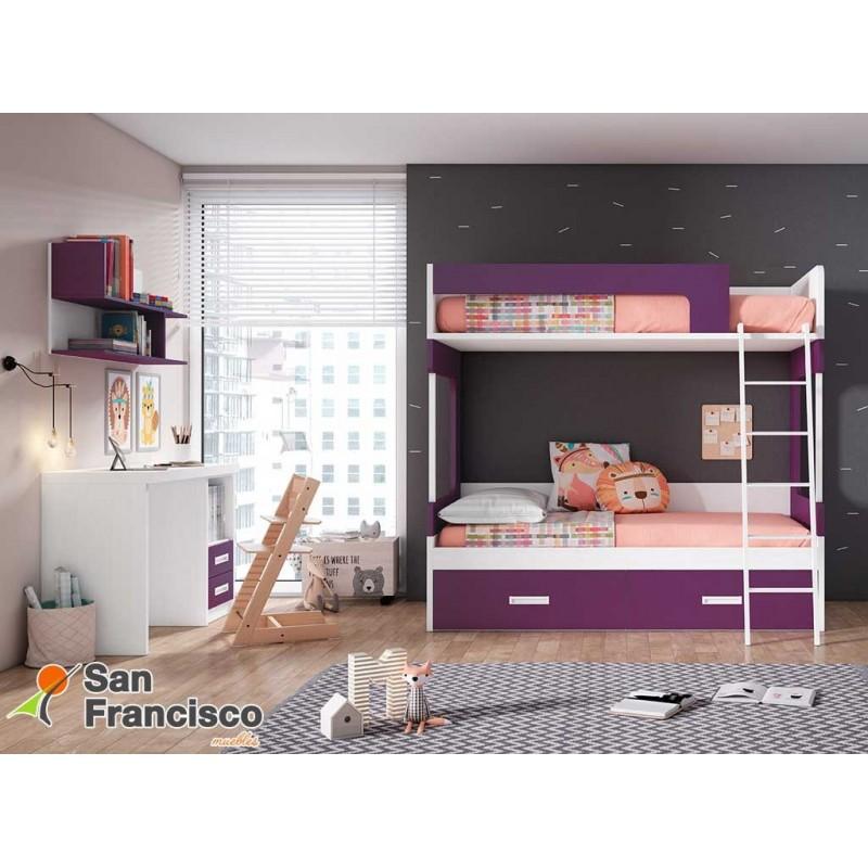 Litera juvenil 2 camas y 2 cajones a suelo. Alta calidad. Económica. Nuevos acabados y colores. LITERA IZQUIERDA.