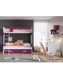 Litera juvenil 2 camas y 2 cajones a suelo. Máxima capacidad. Alta calidad. Económica. Nuevos acabados y colores. LITERA DERECHA