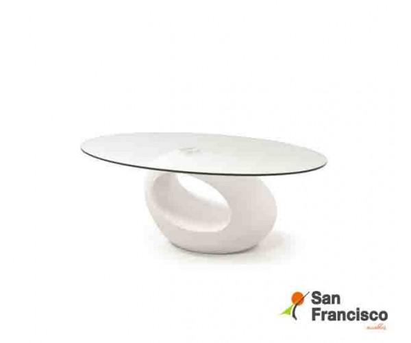 mesa de centro ovalada de cristal