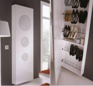 Muebles zapateros para el recibidor for Recibidor zapatero con espejo